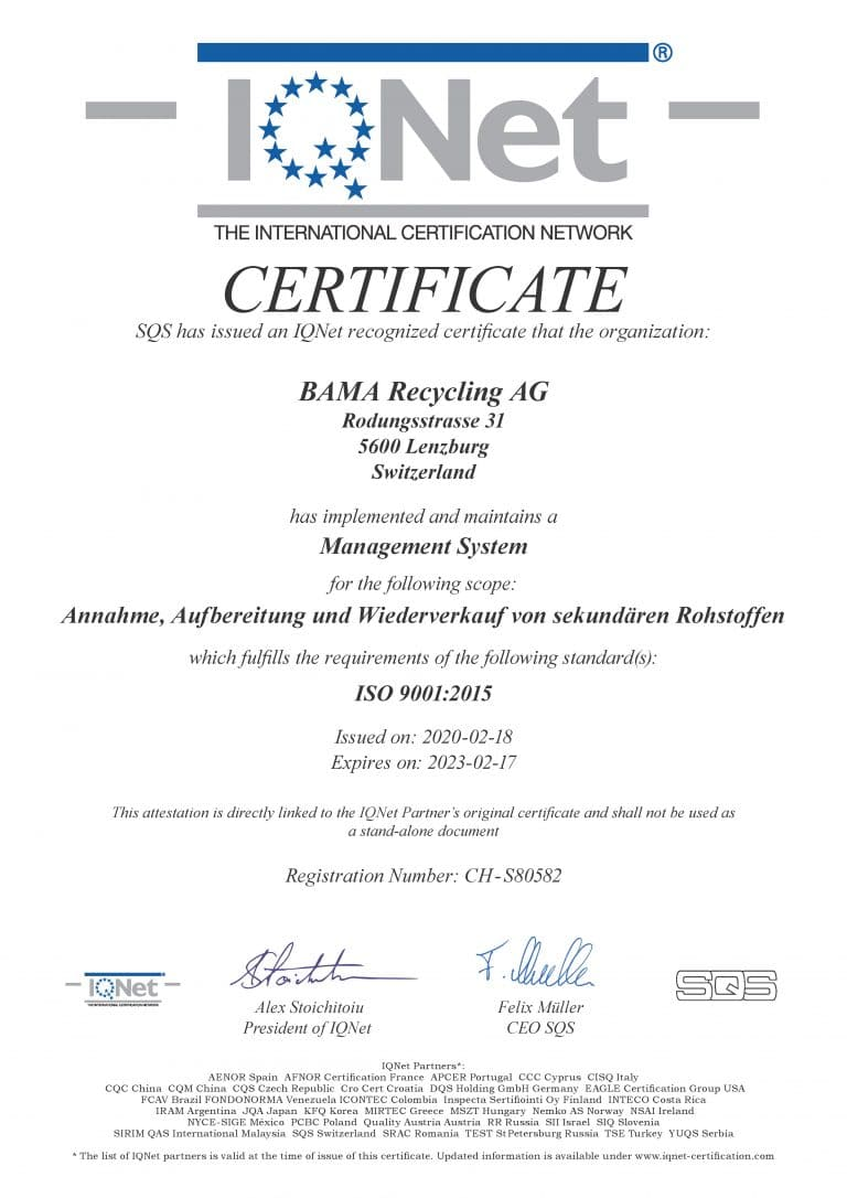 Zertifikat BAMA IQ Net
