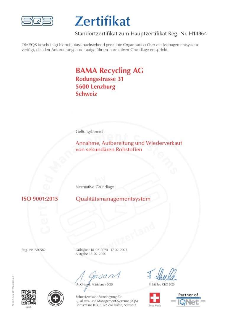 Zertifikat BAMA SQS